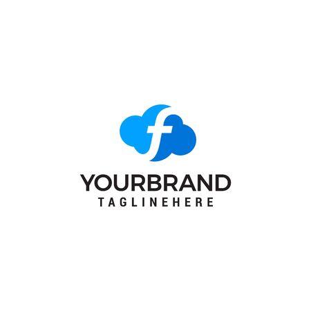initial leter F cloud logo vector illustration design template Illustration