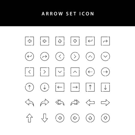 arrows icons set outline Illustration
