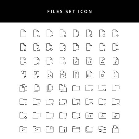 Document Files icon outline set
