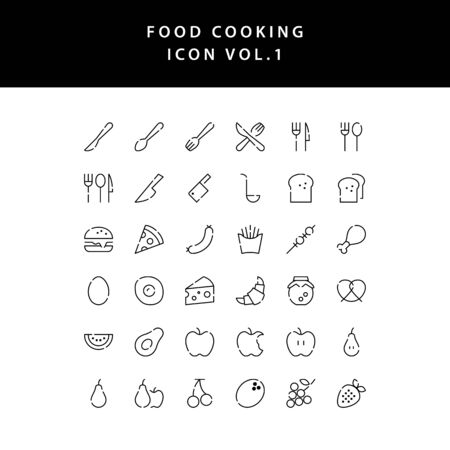 food cooking icon outline set vol 1