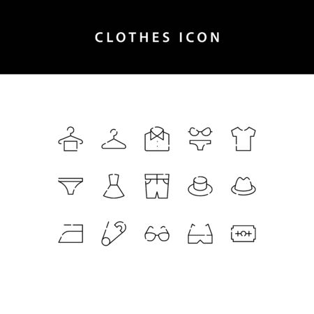 Clothes line style icon set