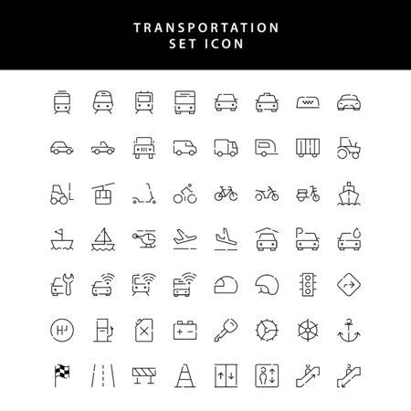zestaw ikon zarys transportu Ilustracje wektorowe