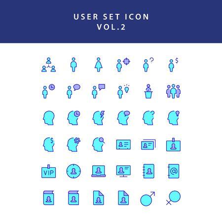 user filled outline icon set vol2  イラスト・ベクター素材