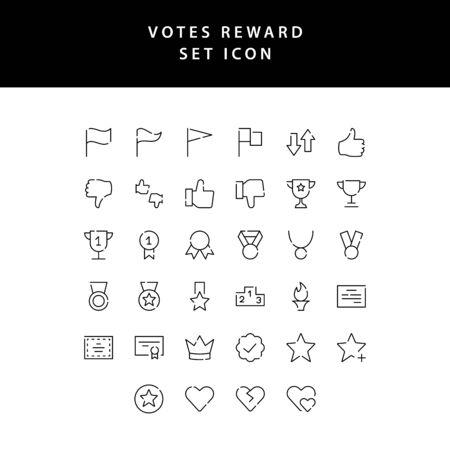 reward and votes outline icon set