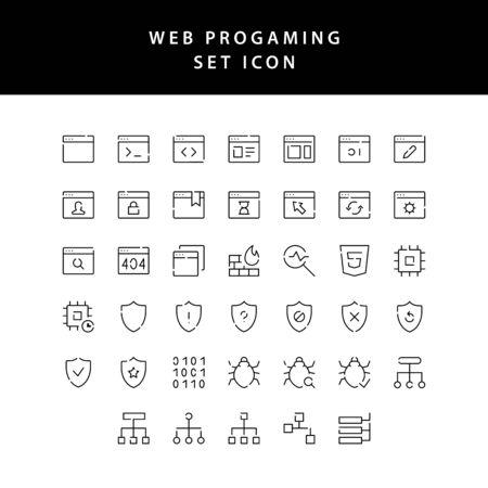 web programing outline icon set