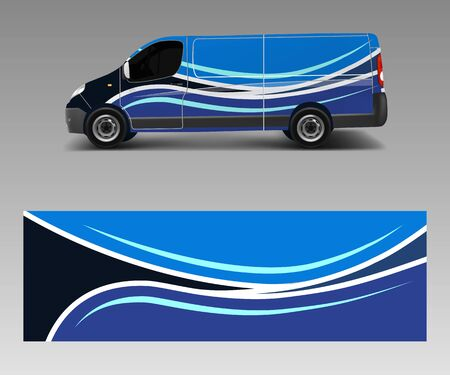 Van Wrap design template vector with wave shapes, decal, wrap, and sticker template vector Ilustracja