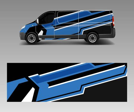 cargo van wrap vector, Graphic abstract stripe designs for wrap branding vehicle