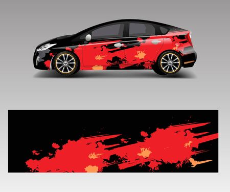 Car wrap decal design vector. Graphic abstract racing designs for vehicle, rally, race, adventure template design vector