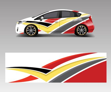 Racing car wrap with abstract stripe shapes for Company. Sport car racing wrap vector design template design vector Ilustracja