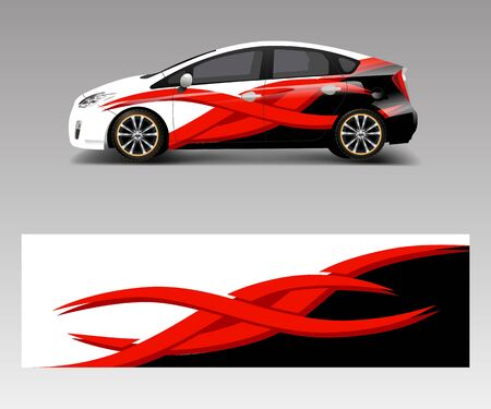 Car decal wrap design vector with wave element . Graphic abstract wave shapes racing for vehicle, race car template design vector