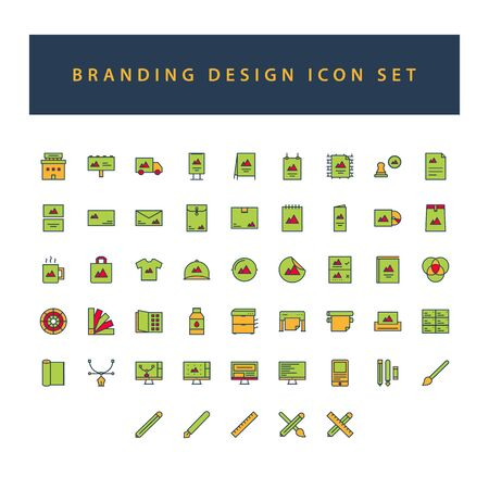 Branding and Design icon set with filled outline style design. Vektorové ilustrace