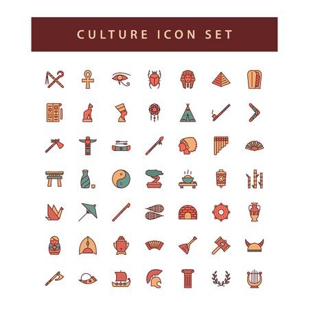 culture icon set with filled outline style design.