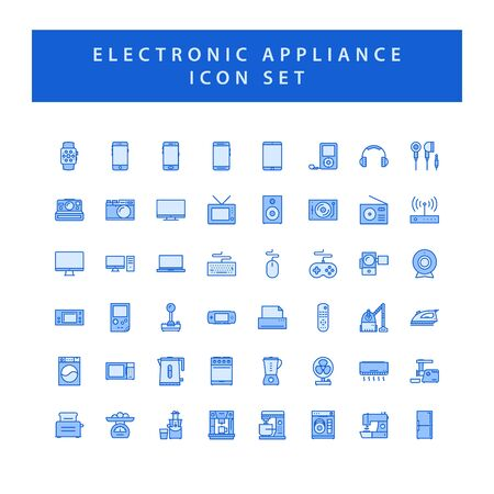 Home appliances electronic icon set with filled outline style design. Ilustrace