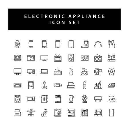 Home appliances electronic icon set with black color outline style design. Ilustrace