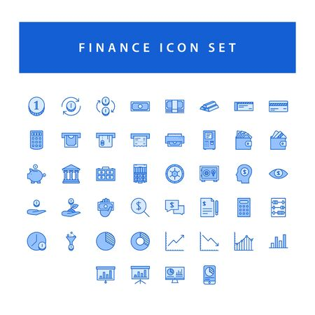 Business and finance icon set with filled outline style design.