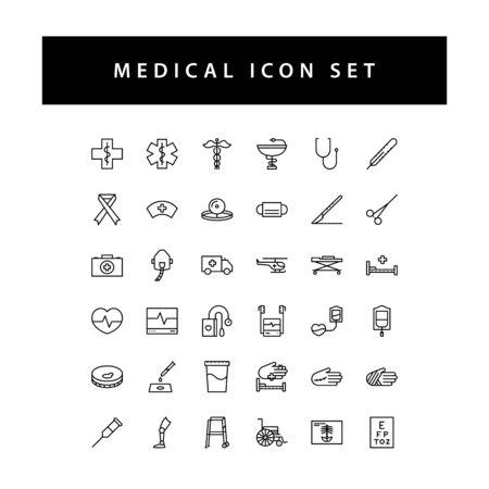 Medical Dental icon set with black color outline style design.
