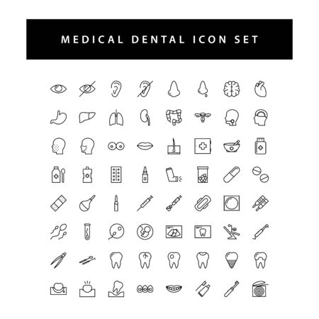 Medical icon set with black color outline style design.