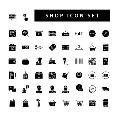 Shop supermarket icon set with black color glyph style design. Vektorové ilustrace