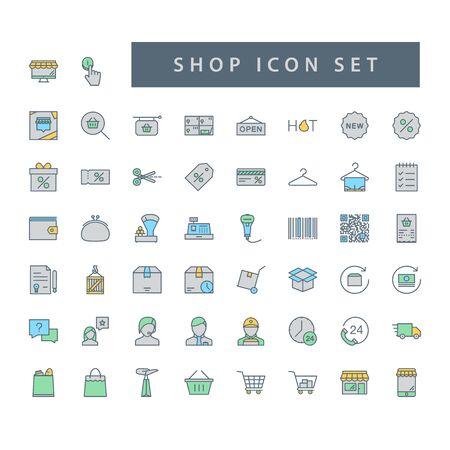 Shop supermarket icon set with filled outline style design. Ilustrace