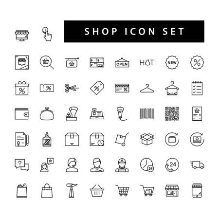 Shop supermarket icon set with black color outline style design. Ilustrace