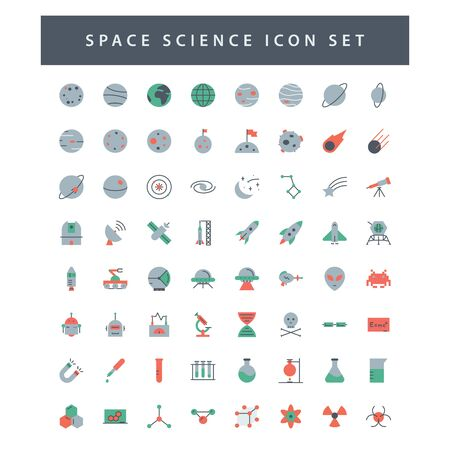 space and science icon set with colorful modern Flat style design. 向量圖像