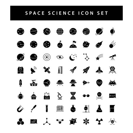 space and science icon set with black color glyph style design. 向量圖像