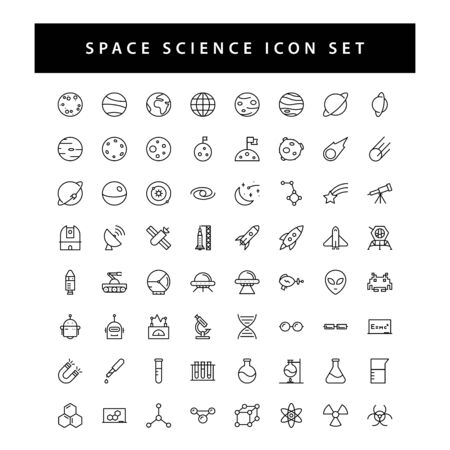 space and science icon set with black color outline style design. Ilustrace