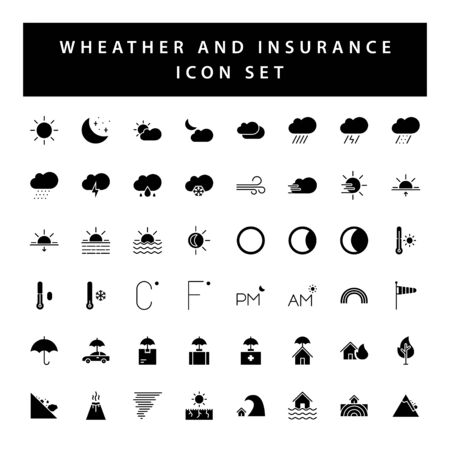 weather and insurance icon set with black color glyph style design.