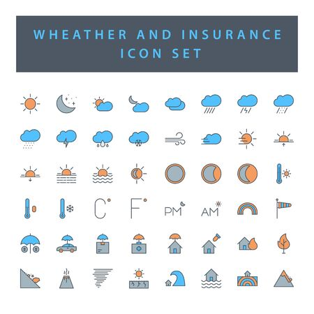 weather and insurance icon set with filled outline style design.