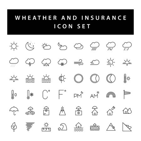 weather and insurance icon set with black color outline style design.