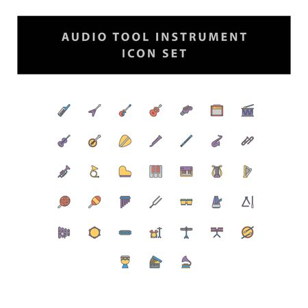 musical instruments vector icons set with filled outline style design