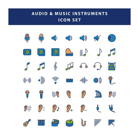 set of audio and musical instruments icon with filled outline style design vector
