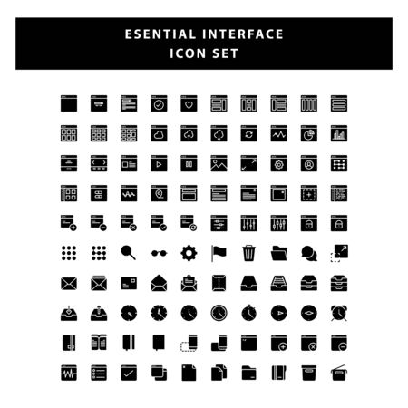 set of page Interface icon with glyph style design vector Illusztráció