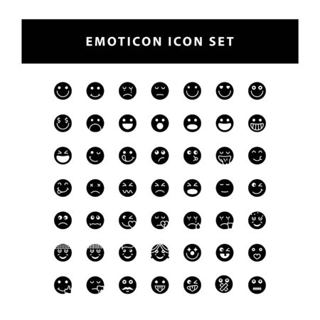 set of Emotion icon with glyph style design vector