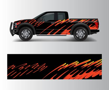 offroad vehicle wrap design vector. Pickup truck decal wrap design vector. Illustration