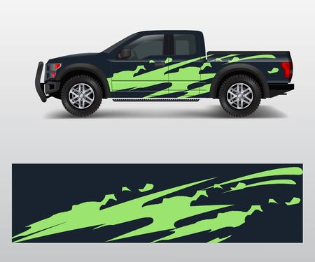 Offroad-Fahrzeug-Wrap-Design-Vektor. Pickup-Truck-Aufkleber-Wrap-Design-Vektor. Vektorgrafik