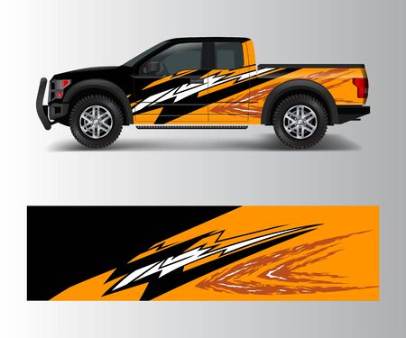Truck And Vehicle car racing graphic for wrap and vinyl sticker Illustration