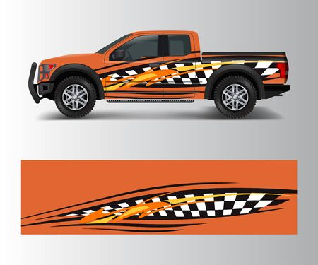 custom livery race rally offroad car vehicle sticker and tinting. Car wrap decal design vector Archivio Fotografico - 149572786