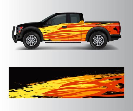 Graphic abstract stripe racing modern designs for wrap vehicle, race car, speed offroad, rally, adventure.