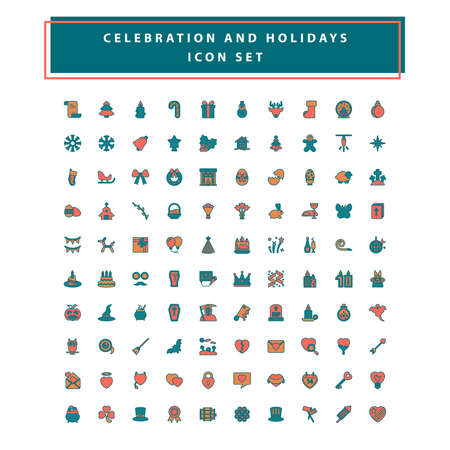 set of celebration and holidays icon set with filled outline style design