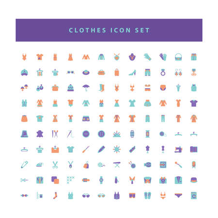 vector of collection clothes fashion icons set with flat color style design