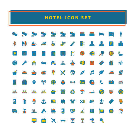 set of Hotel and travel black icons with filled outline style design Illustration