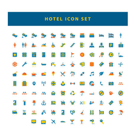 set of Hotel and travel black icons with flat color style design Illustration