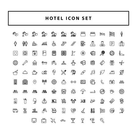 set of Hotel and travel black icons with outline style design