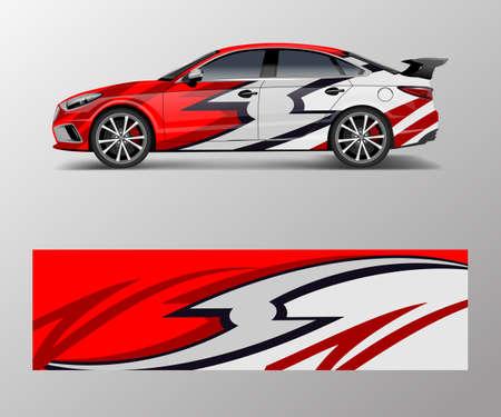 wrap design for custom sport car. Sport racing car wrap decal and sticker design. Ilustração Vetorial