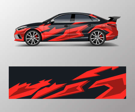 abstract Racing graphic vector for sport car wrap design Illustration