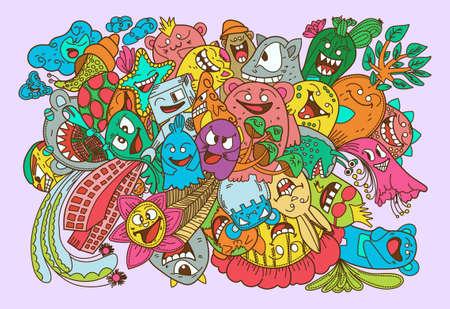 Doodles color Monsters collection set illustration