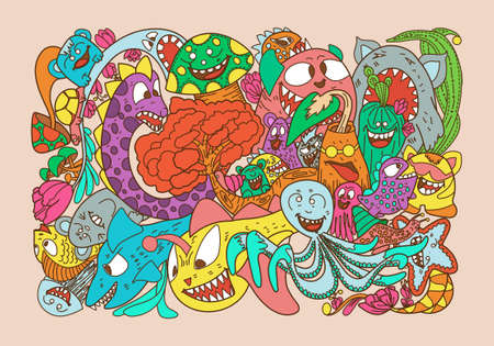 Vector illustration with hand drawn doodle cute Monster and nature elements 矢量图像
