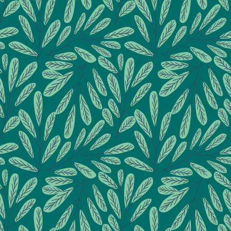 Bight Pink Flowers and Green Leaves Vector Seamless Pattern. Seamless floral pattern background vector Illustration for print, Wallpaper, fashion template 向量圖像