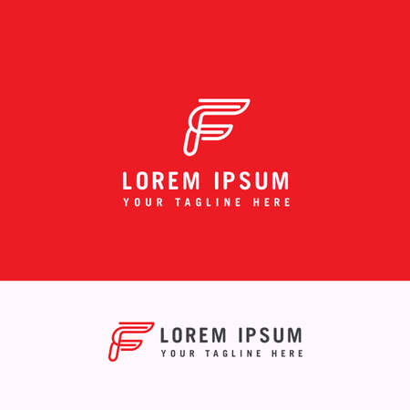 Letter F Line Style Logo Template